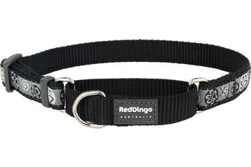 Red Dingo Martingale Collar Paw Impressions Black MC-PI-BB