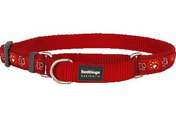 Red Dingo Martingale Collar Paw Impressions Red MC-PI-RE