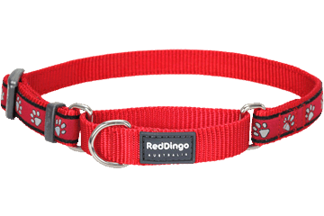 Red Dingo Zug-Stop Halsband Paw Prints Rot MC-PP-RE