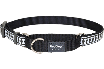 Red Dingo Martingale Collar Reflective Bones Nero MC-RB-BB