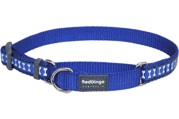 Red Dingo Martingale Collar Reflective Bones Dark Blue MC-RB-DB