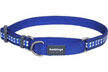 Red Dingo Martingale Collar Reflective Bones Dark Blue MC-RB-DB