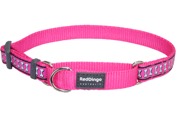 Red Dingo Martingale Collar Reflective Bones Hot Pink MC-RB-HP