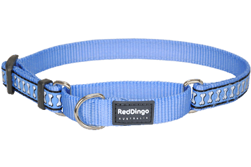 Red Dingo Martingale Collar Reflective Bones Medium Blue MC-RB-MB