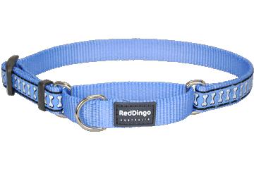 Red Dingo Martingale Collar Reflective Bones Medium Blue MC-RB-MB