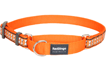 Red Dingo Martingale Collar Reflective Bones Orange MC-RB-OR