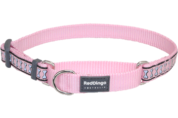 Red Dingo Martingale Collar Reflective Bones Pink MC-RB-PK