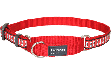 Red Dingo Zug-Stop Halsband Reflektierende Knochen Rot MC-RB-RE