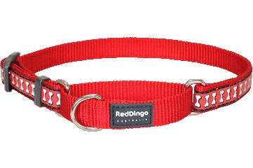 Red Dingo Martingale Collar Reflective Bones Red MC-RB-RE