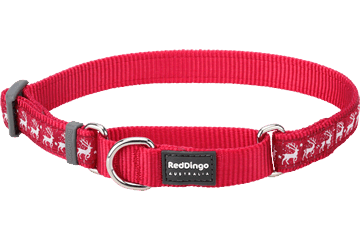 Red Dingo Zug-Stop Halsband Rentier Rot MC-RD-RE
