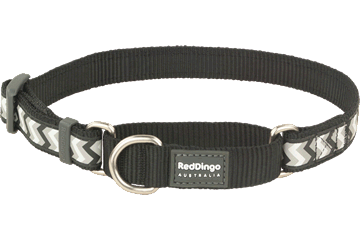 Red Dingo Martingale Collar Reflective Ziggy Black MC-RZ-BB
