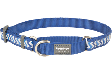 Red Dingo Martingale Collar Reflective Ziggy Dark Blue MC-RZ-DB