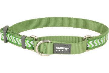 Red Dingo Martingale Collar Reflective Ziggy Green MC-RZ-GR