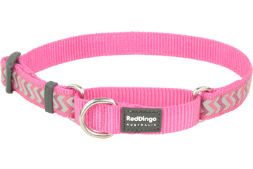Red Dingo Zug-Stop Halsband Reflektierend Ziggy Hot Pink MC-RZ-HP