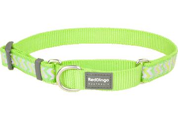 Red Dingo Martingale Collar Reflective Ziggy Lime Green MC-RZ-LG