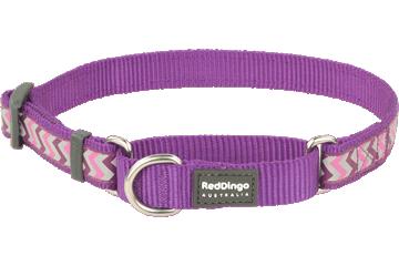 Red Dingo Martingale Collar Reflective Ziggy Purple MC-RZ-PU