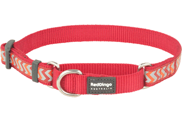Red Dingo Zug-Stop Halsband Reflektierend Ziggy Rot MC-RZ-RE