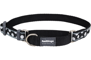 Red Dingo Martingale Collar White Spots Black MC-S5-BB