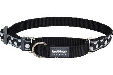 Red Dingo Martingale Collar White Spots Black MC-S5-BB