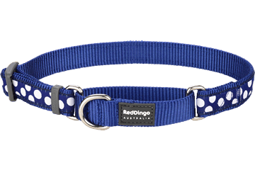 Red Dingo Martingale Collar White Spots Dark Blue MC-S5-DB