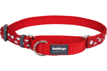 Red Dingo Zug-Stop Halsband Punkte Weiss Rot MC-S5-RE