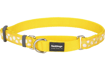 Red Dingo Martingale Collar White Spots Yellow MC-S5-YE