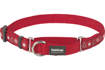 Red Dingo Zug-Stop Halsband Santa Paws Rot MC-SP-RE