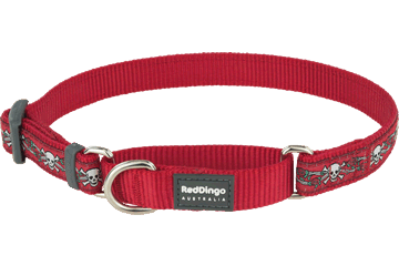 Red Dingo Martingale Collar Skull & Roses Red MC-SR-RE