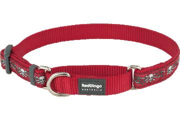 Red Dingo Martingale Collar Skull & Roses Red MC-SR-RE