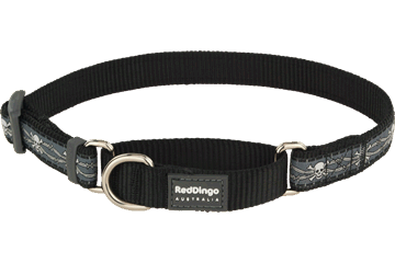Red Dingo Martingale Collar Skull & Wire Black MC-SW-BB