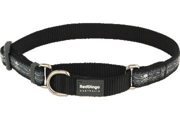 Red Dingo Martingale Collar Skull & Wire Black MC-SW-BB