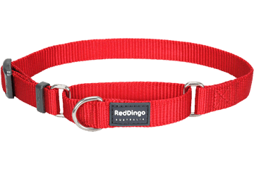 Red Dingo Zug-Stop Halsband Klassisch Rot MC-ZZ-RE