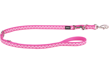 Red Dingo Multipurpose Lead Gingham Hot Pink MP-GI-HP