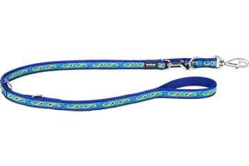 Red Dingo Multipurpose Lead Paisley Dark Blue With Green MP-P2-DB