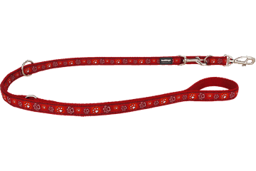 Red Dingo Multipurpose Lead Paw Impressions Red MP-PI-RE