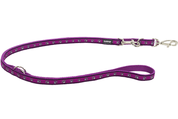Red Dingo Multipurpose Lead Paw Prints Purple MP-PP-PU