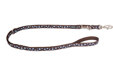 Red Dingo Multipurpose Lead Blue Spots Brown MP-S2-BR