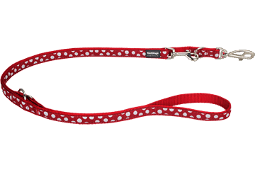 Red Dingo Multipurpose Lead White Spots Red MP-S5-RE